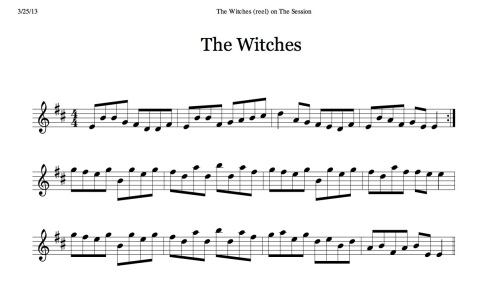 The Witches (reel) on The Session